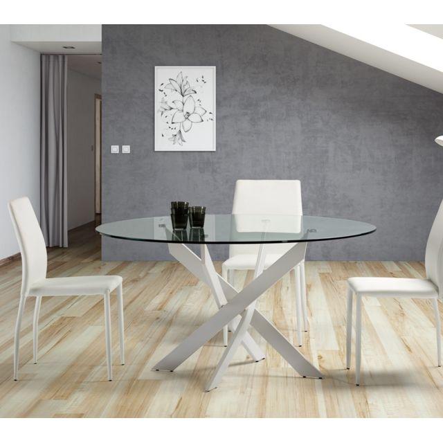 Tousmesmeubles Table de repas ronde Blanc 120 cm - Faxou - L 120 x l 120 x H 76