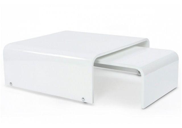 Declikdeco - Table Basse 2 en 1 Laquée Blanche à Roulettes Picasso 75cm x  30cm x 110cm - pas cher Achat   Vente Tables d appoint - RueDuCommerce 0cd13d70f2db