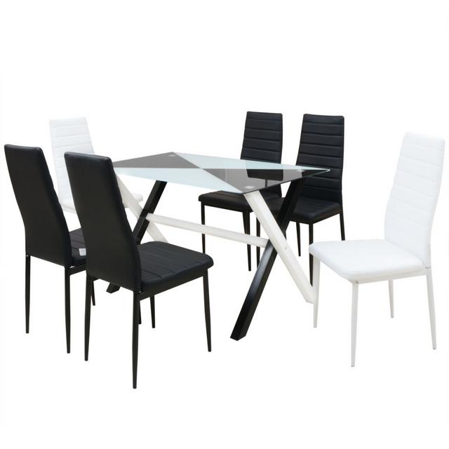 Vidaxl Ensemble Table Et Chaises De Salle A Manger 7 Pcs Simili