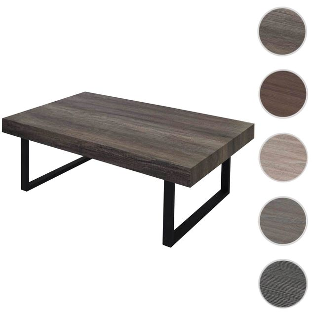 Mendler Table basse de salon Kos T576, Fsc 40x110x60cm ~ chêne sauvage, pieds métalliques foncés