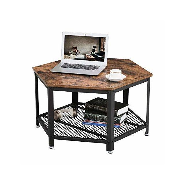 Table Basse Vintage Bois.Table Basse Vintage Table D Appoint Table De Salon Armature Metallique Stable Etagere De Rangement En Treillis Hexagonal Aspect Bois Lct16x