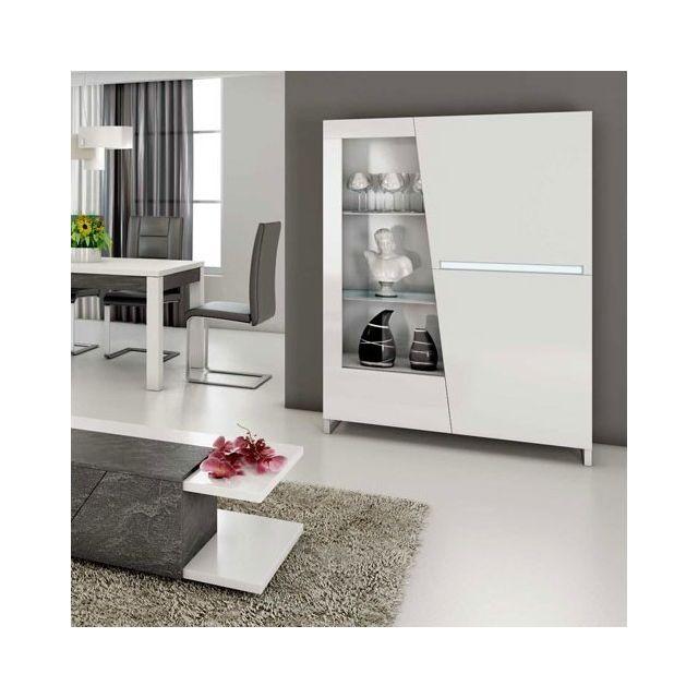 Nouvomeuble Argentier Vaisselier design laqué blanc led 120x155 cm Laurea