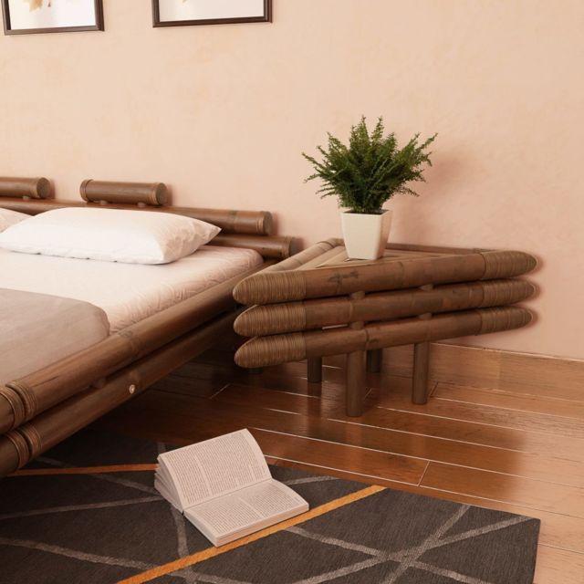 Vidaxl Table de chevet 2 pcs 60 x 60 x 40 cm Bambou Marron foncé