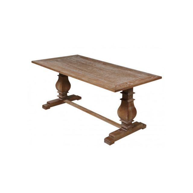 Table à manger AMBOISE - 6 couverts - Chêne et Hévéa Massif