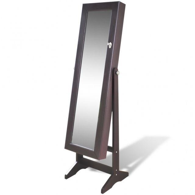 Casasmart Armoire à bijoux miroir éclairage marron