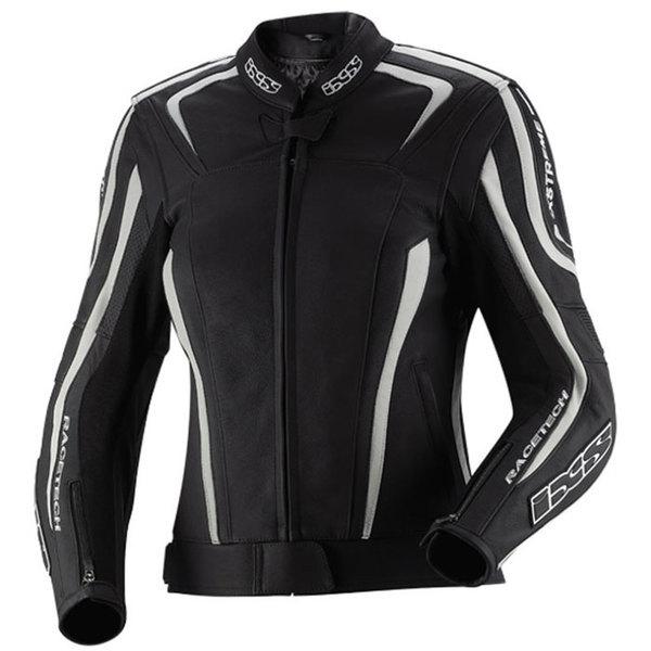 blouson cuir moto sport femme Lady Chara toutes saisons noir-blanc Promo 40
