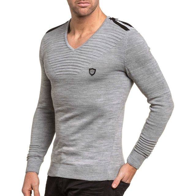 13d303072bf89 BLZ Jeans - Pull gris homme col V nervuré XL - pas cher Achat   Vente Pull  homme - RueDuCommerce