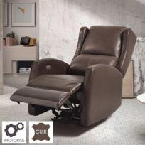 - Fauteuil de relaxation en cuir - chocolat