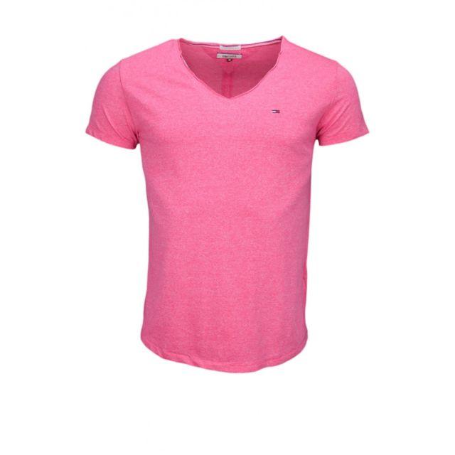 Hilfiger T shirt col V Tommy Dénim rose chiné pour homme