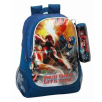 Safta - Sac à dos Captain America Civil War 44 Cm Haut de Gamme + Trousse