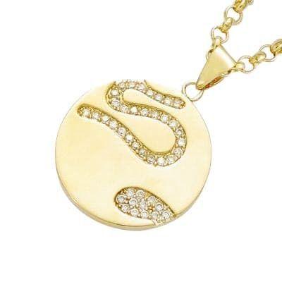 Sochicbijoux - So Chic Bijoux © Pendentif Disque Cercle Serpent Oxyde de Zirconium Plaqué Or 750 Vendu seul: sans chaîne présentée
