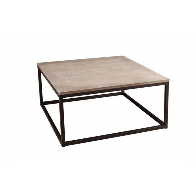 Table Basse Industrielle Pas Cher.Table Basse Industrielle Carree 90 X 90 Cm Lea En Bois De Paulownia Et En Metal