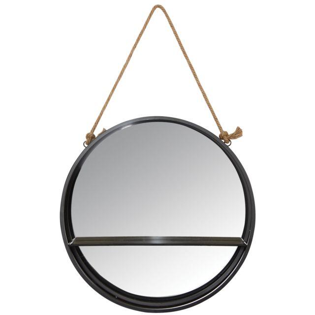 AUBRY GASPARD Miroir étagère rond à suspendre