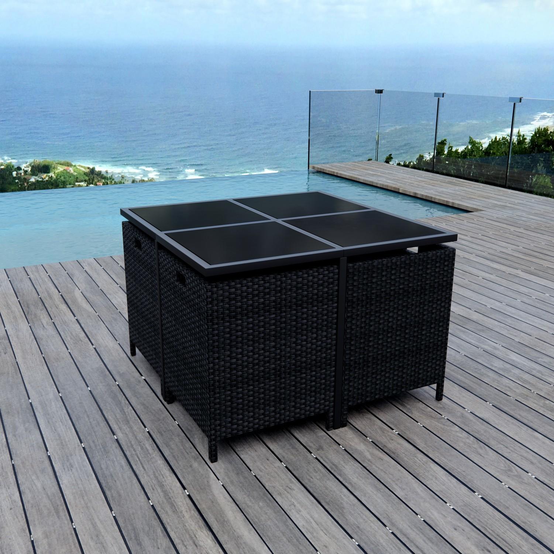 Munga 8 Places - Ensemble encastrable salon / table de jardin résine tressée-Noir/Gris