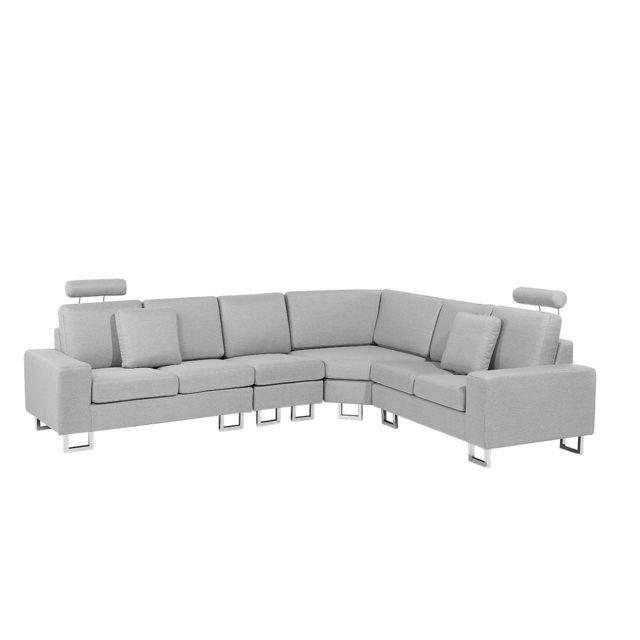 BELIANI Canapé angle à gauche en tissu gris clair STOCKHOLM