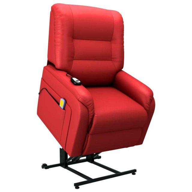 Vidaxl Fauteuil Inclinable de Massage Tv Electrique Rouge Similicuir Salon