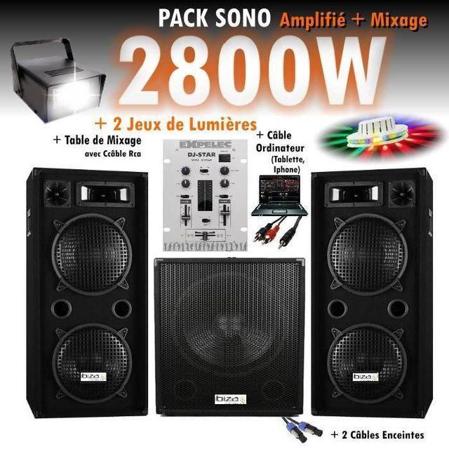 Ibiza Sound Pack sono mixage dj 2800w avec 1 caisson - 2 encentes - pieds - cables - jeux de lumières led pa dj led light sound