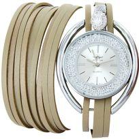 M.johnf - Montre Femme Cuir Marron Double-Bracelet M. John 609