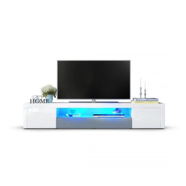 Mpc Meuble tv moderne laqué blanc et gris 200 cm avec led