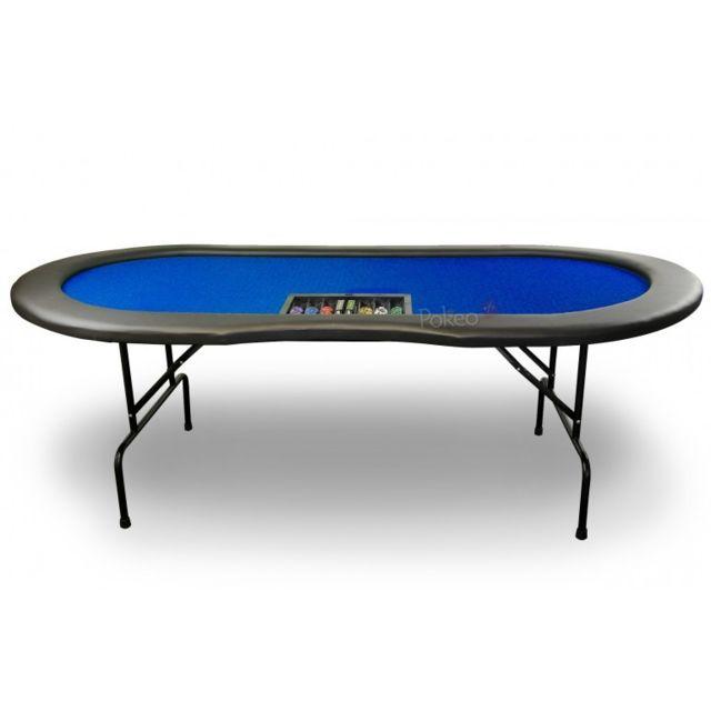 Pokeo Table de Poker 10 joueurs avec emplacement Dealer Bleu