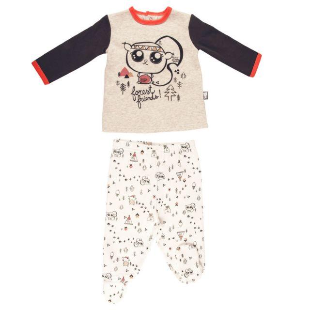 54ad2f05b2ab6 Petit Beguin - Pyjama bébé 2 pièces molleton avec pieds Forest Friend -  Taille - 9