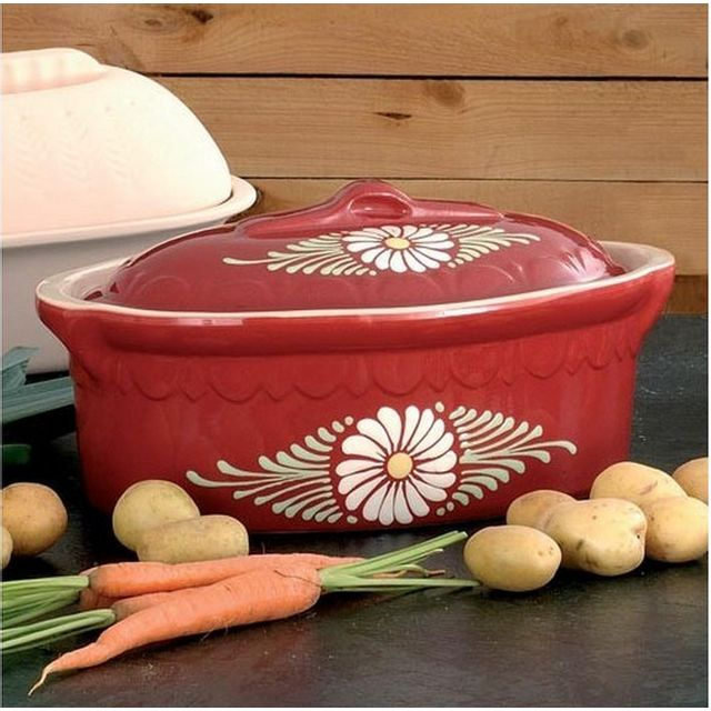 BECK terrine ovale 40cm rouge decor marguerite - 8840