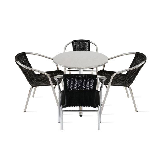 OVIALA - Table de jardin ronde et 4 fauteuils en aluminium ...