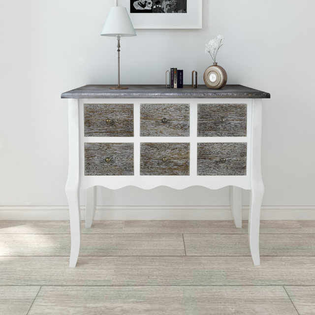Vidaxl Console armoire en bois blanc avec 6 tiroirs