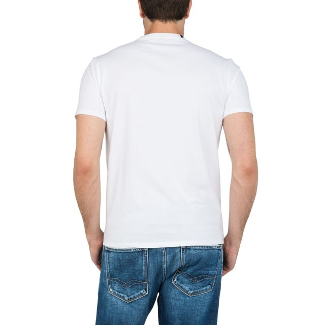 REPLAY Tee-shirt blanc avec logo T-Shirt col V en coton blanc