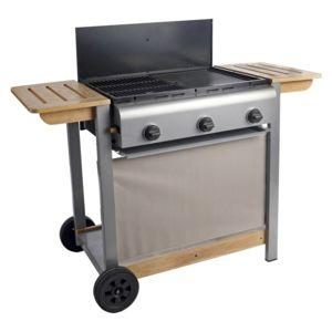 moulinex barbecue plancha mixte gaz plaque fonte 3 br leurs 11 kw chariot m tal et bois. Black Bedroom Furniture Sets. Home Design Ideas