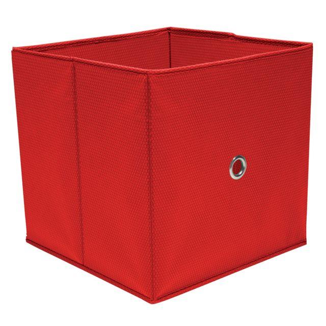 Ordinett Cube de Rangement Rouge 32 x 32 x 32 cm