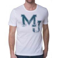 Mustang - T-shirt Homme Floqué Blanc Et Bleu