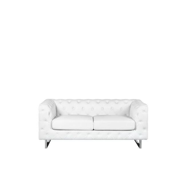 BELIANI Canapé 2 places en simili-cuir blanc VISSLAND - blanc