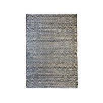 The Rug Republic - Tapis tissé main en chanvre et coton motif ethnique bleu nuit et blanc Pasadena