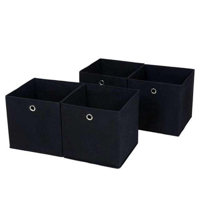 Marque Generique Lot De 4 Boites Tiroirs En Tissu Cube De Rangement Pliable Coffre Pour Linge Jouets Vetement 30 X 30 X 30 Cm Noir Pas Cher Achat Vente Corbeille Panier Rueducommerce