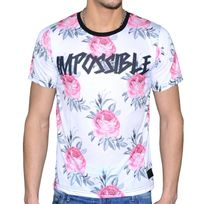 Celebrytees - Celebry Tees - T Shirt - Homme - Impo Rose - Blanc Rose