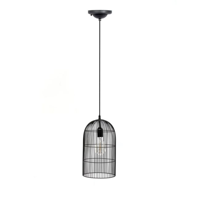 The Home Deco Factory Suspension luminaire en métal filaire Cage - Diam. 20 cm - Noir
