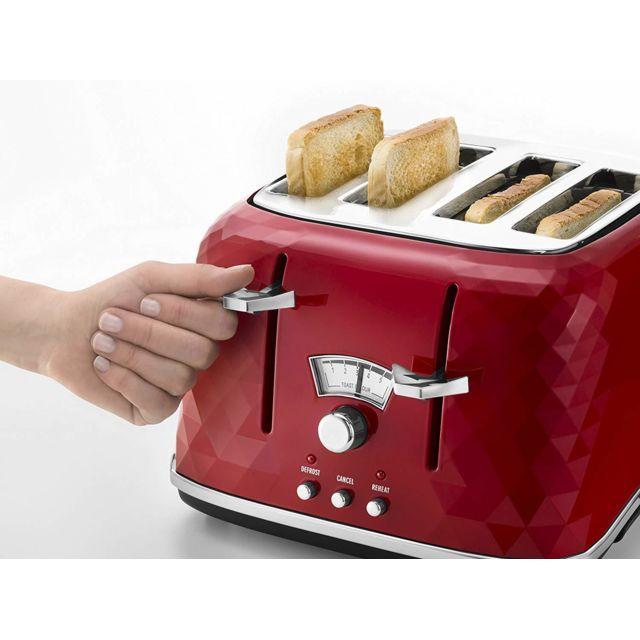 Delonghi grille pain avec 4 fentes 1800W brilliante rouge