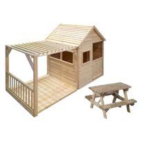 FOREST STYLE - Cabane enfant Margot + table de pique nique en bois