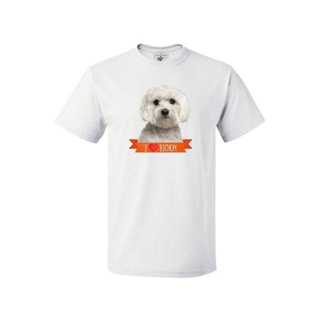 MYGOODPRICE T-shirt col rond I love Bichon M Blanc