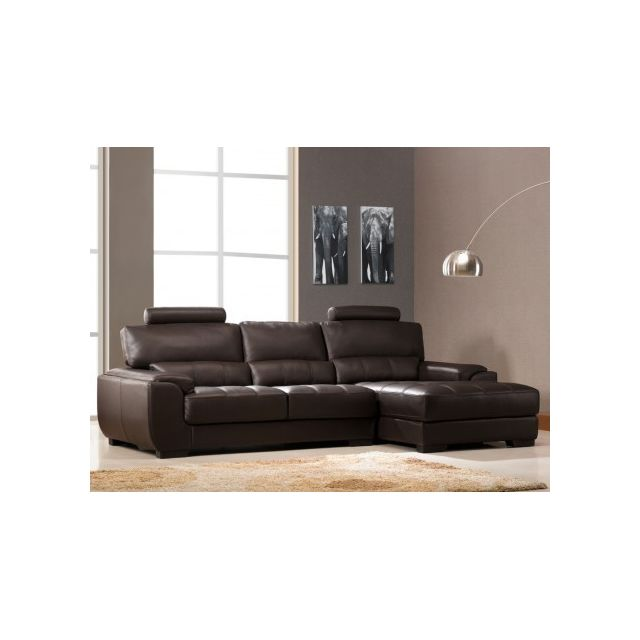 Vente-unique Canapé d'angle en cuir Metropolitan Ii - Chocolat - Angle droit