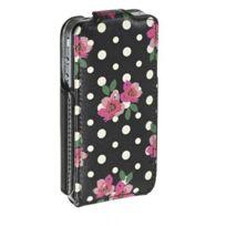 Accessorize - Etui a clapet noir motif fleurs et pois pour iPhone 4/4S