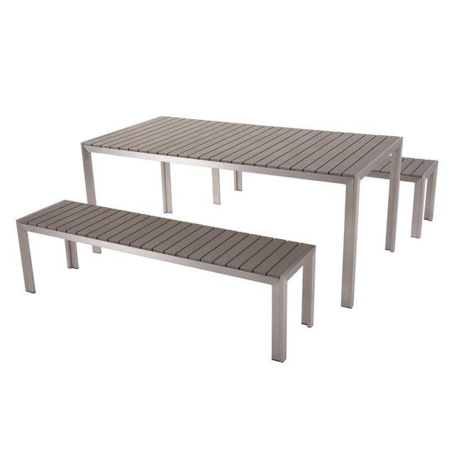 Table de jardin et bancs en bois composite gris 180 cm NARDO