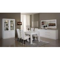 Modern Salon - Ensemble 7 éléments: laque blanc vitrine 2+ table 160+bahut 2200+ 4 chaises