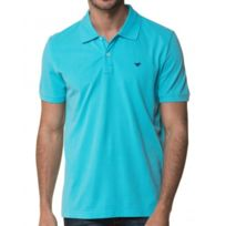 Mustang - Polo Homme Turquoise Manches Courtes