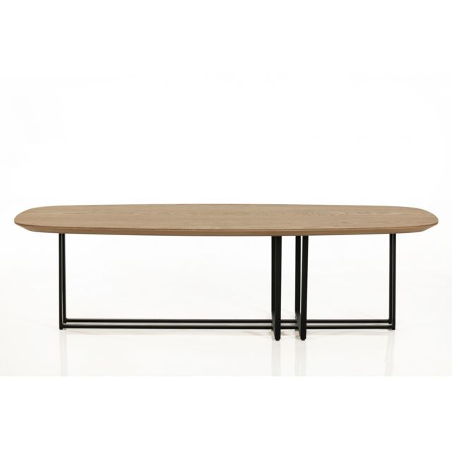 HELLIN TABLE BASSE MODERNE ELLIPSE EN BOIS ET METAL - BRIGHTON