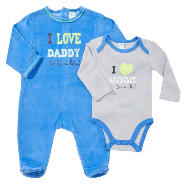 d76377acd8612 TEX BABY - Lot un pyjama bébé velours et un body coton DADDY AND MUMMY