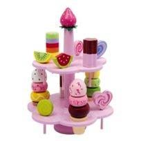 Legler - Présentoir de friandises en bois - Jeu de dinette - marchande - 27 pièces colorées