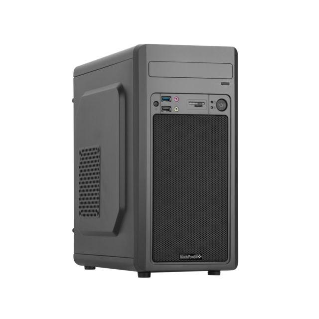 MAXINPOWER - Boitier PC Micro-ATX Black Aero - Avec alimentation 480W