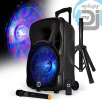 """Mydj - Enceinte sono karaoke batterie 12"""" 600W effet Friztal + Micro sans-fil + Pied - Magik"""